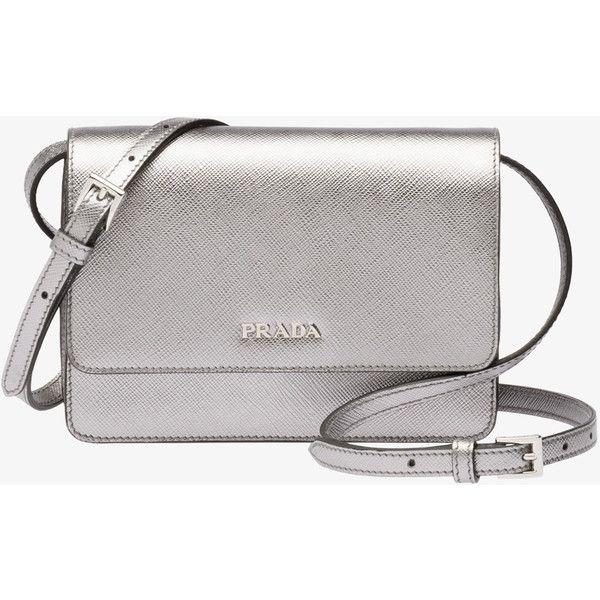 PRADA Small Bag ($1,130) ❤ liked on Polyvore featuring bags, handbags, shoulder bags, chrome, women, prada, prada purses, zipper purse, prada handbags and prada shoulder bag