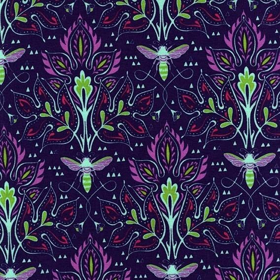 http://www.plushaddict.co.uk/michael-miller-emma-s-garden-bee-damask-violet.html Michael Miller - Emma's Garden Bee Damask Violet - cotton fabric