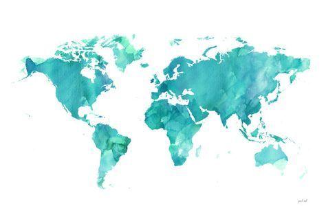 World watercolor Map printable file JPEG download and door iPrintArt