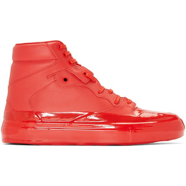 Balenciaga Red Dipped High-Top Sneakers (1,105 CAD) ❤ liked on Polyvore featuring men's fashion, men's shoes, men's sneakers, mens leather lace up shoes, balenciaga mens shoes, mens black leather high top sneakers, mens red leather shoes and balenciaga mens sneakers