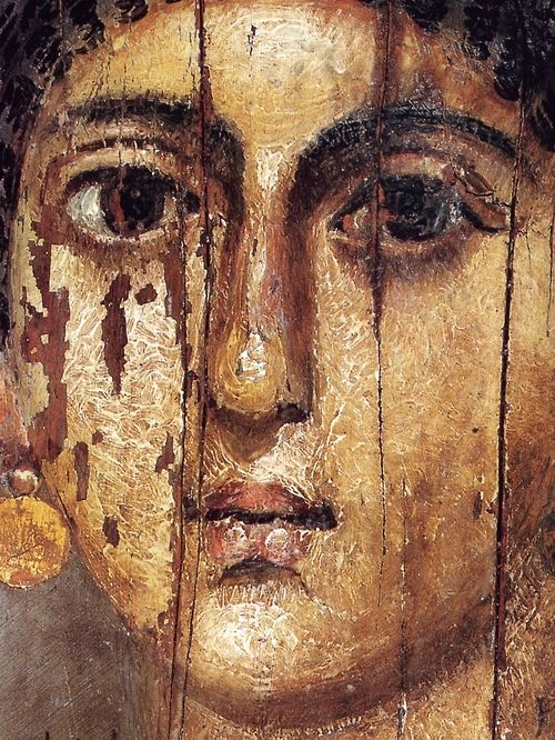 Mummy portrait of Isarous, Hawara, Egypt (detail) late 1st century