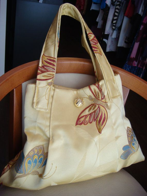 Upcycled Bag Purse Upholstery fabric 2 handles golden yellow pure Silk Brocade tapestry Cloth embroidery Butterflies. Recycled bag purse