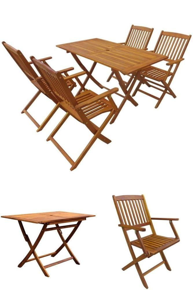 Wooden Garden Dining Set Folding Table 4 Chairs Camping Furniture Parasol Hole Patio Furniture Patio Dining Set Outdoor Furniture Sets