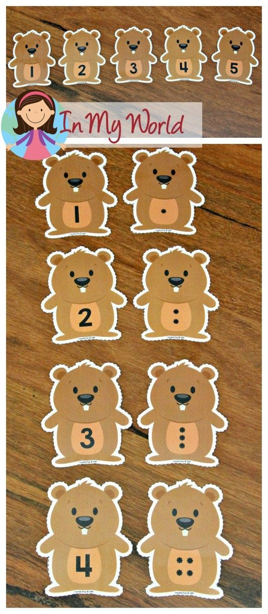 FREE Groundhog Day Preschool Centers Number Match