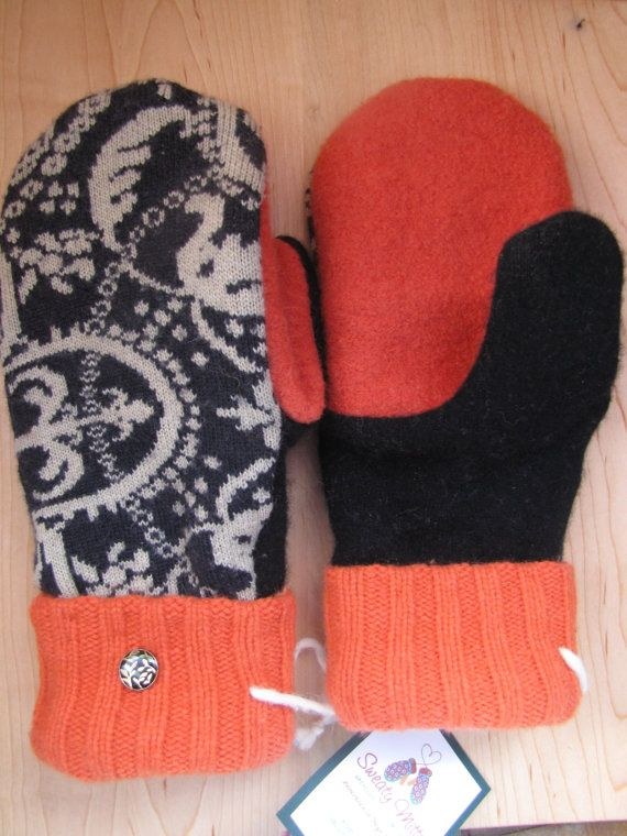 Sweaty Mitts  Upcycled Wool and Cashmere Sweater by SweatyMitts, $35.00  Black / Beige / Orange