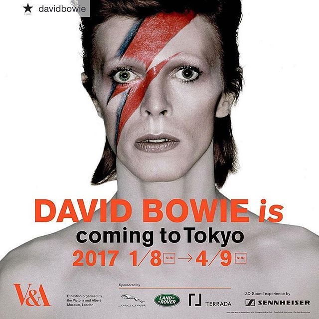 """Repost by Iman's Instagram DAVID BOWIE IS TOKYO TICKETS ON SALE """"David Bowie is under Japanese influence"""" The Tokyo exhibition commences Sunday 8th January and runs through to Sunday 9th April 2017. Takeshi Kitano and Ryuichi Sakamoto, co-stars of Merry Christmas Mr. Lawrence, talk about David Bowie in a brand new special Japanese section, exclusive to the Tokyo Exhibition. ..."""