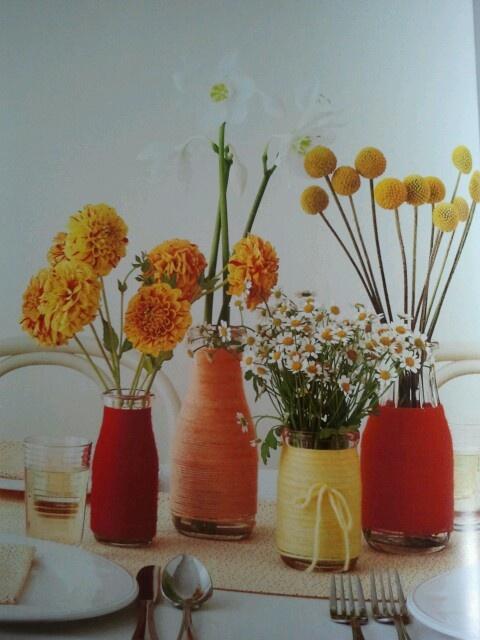 Centros de mesa con botellas e hilos ideas para bodas - Centros de mesa con botellas ...