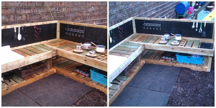 Learning for Life: A deluxe mud kitchen!  I like the chalkboard and using pallets.