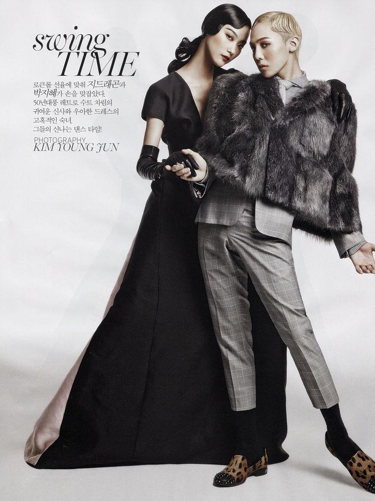 Vogue Korea - Swing Time Editorial - Models Ji Hye Park & G-Dragon August 2013