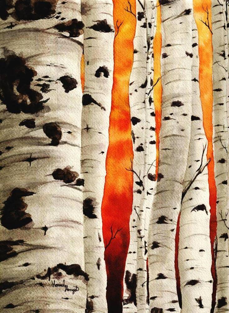 """Aspen Trees"" By Moriah Hengst Watercolor"