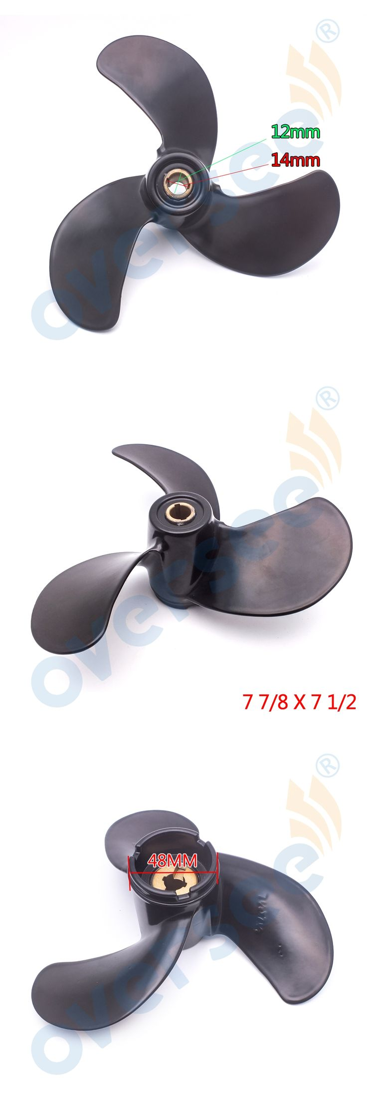 "For Honda Outboard BF5A Aluminium Outboard Propeller 4.5/5hp (7 7/8 x 7.5"")  58130-ZV1-841ZB"