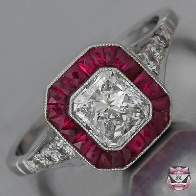 I just love the fuchsia rubies on this art deco engagement ring.