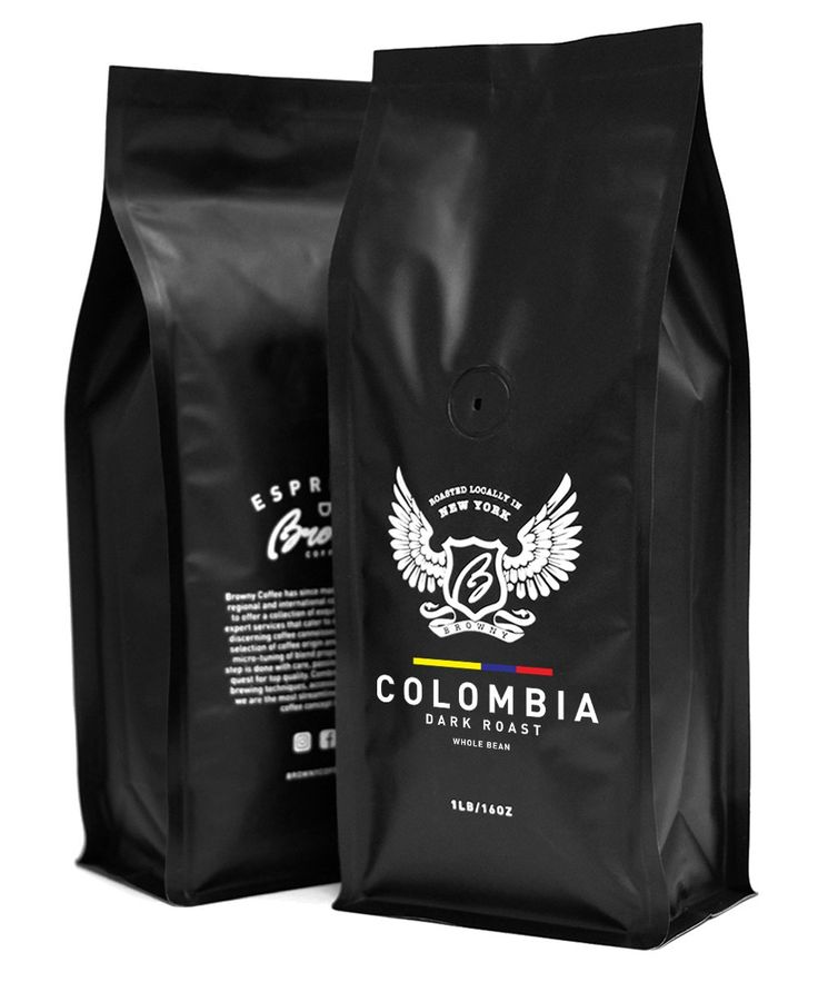 Browny Columbian Supremo Roasted Coffee Whole Beans - Premium Artisan Dark Roast in 16oz (Dark Roast, 1 Pound)