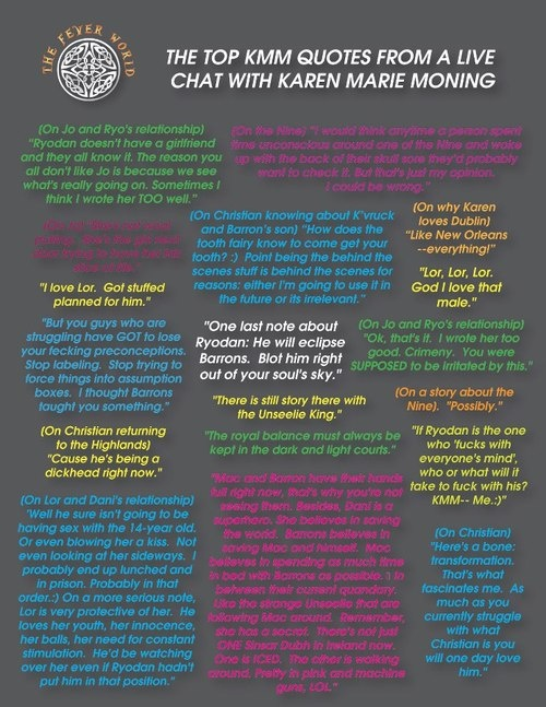 The top KMM quotes from a live chat with Karen Marie Moning.