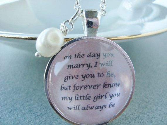 Jewelry Wedding Gift For Daughter : Father to Daughter bridal pendant by SweetlySpokenJewelry on Etsy ...