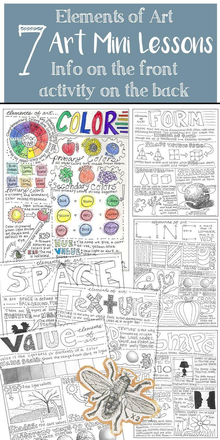 7 Elements Of Art Worksheets Elementary Art Middle School High School Art Elements Of Art Art Worksheets Elementary Art [ 1470 x 735 Pixel ]