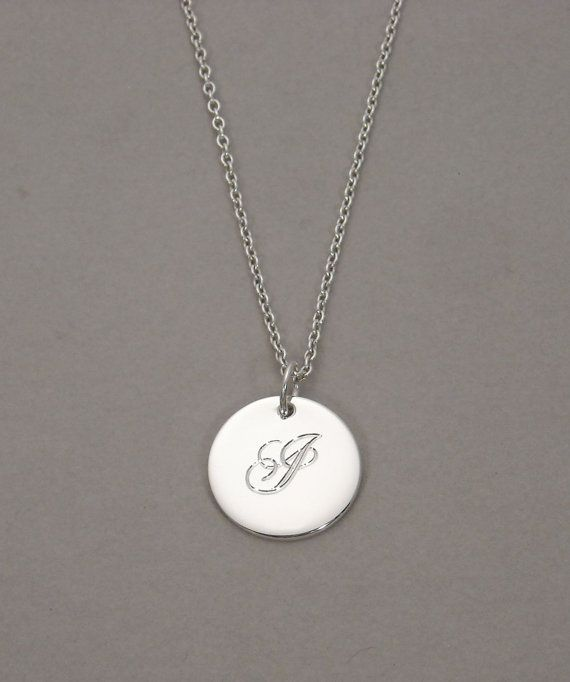 Engraved Initial charm necklace personalized letter I monogram