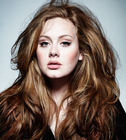 Adele's Big Hair, Bold Contouring on the Cheekbones but Neutral Color Makeup