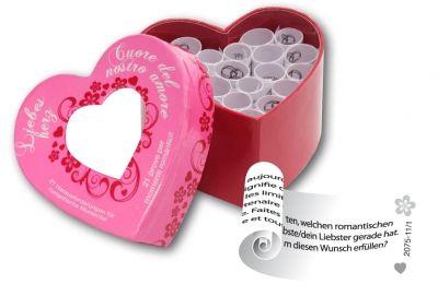 tease & please   Liebesherz Mit dem Liebesherz könnt ihr eurer Zweisamkeit einen romantischen Impuls geben. Suchst du zum Beispiel ein originelles Geschenk? Dann überrasche deine Liebste/deinen Liebsten mit diesem liebevollen Spiel für eine unvergessliche Zeit miteinander.