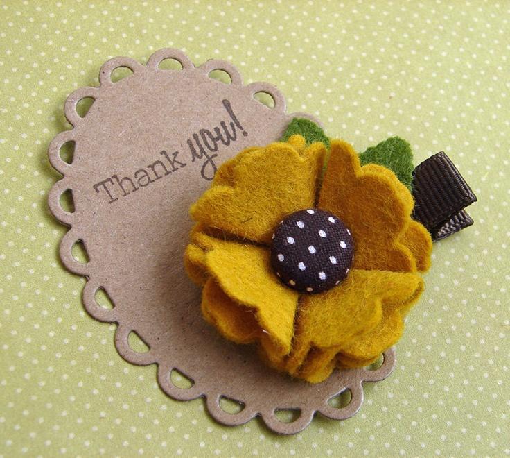 Wool Felt Flower Hair Clip - Fun Autumn Clippie - Black Eyed Susan Felt Flower. $4.00, via Etsy.