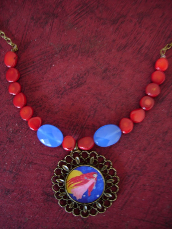The Moon FairyWhimsical Art Illustrated Necklace with by eltsamp, $38.00