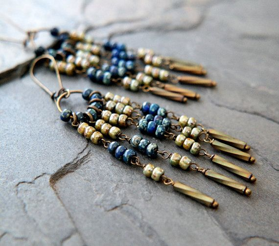 Gypsy Style Earrings/ Bohemian Jewelry/ Hippie Chic Boho Earrings/ Beaded Earthy Bohemian Earrings/ Aged Czech Glass Seed Bead Earrings