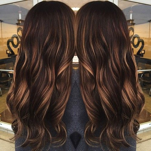 dark brown hair with caramel babylights