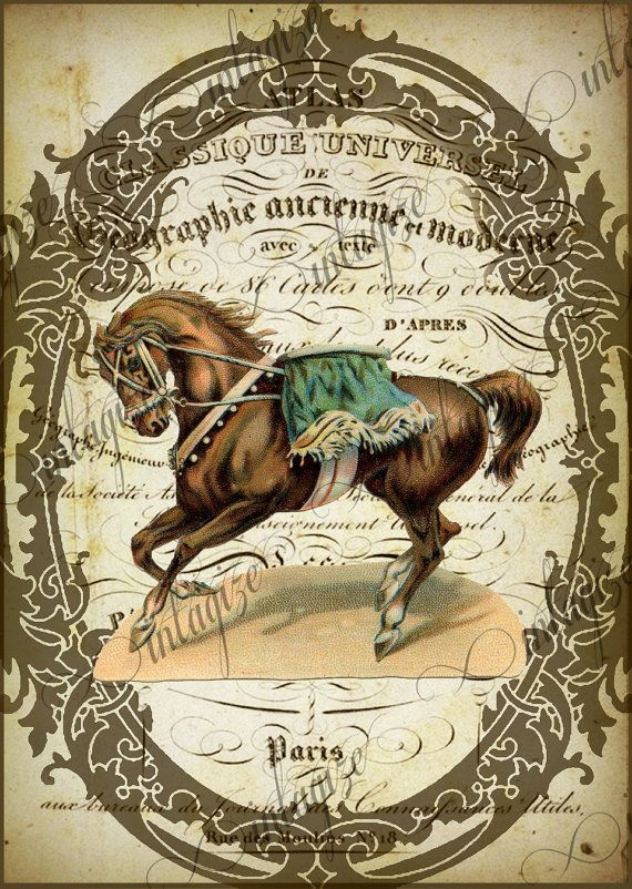 Horse Instant Art Original Print French Circus Brown by Vintagize, $3.25