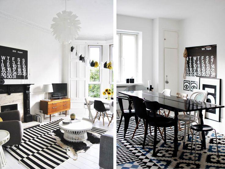 Tapis graphiques en noir et blanc salon pinterest en noir graphiques et jaune - Tapis geometrique noir et blanc ...