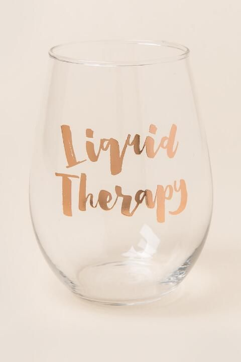 Liquid Therapy Stemless Wine Glass-  gift-cl
