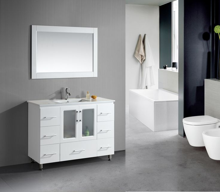 48u201d Contemporary White Sink Bathroom Vanity Set With Porcelain Sink Top  Http://