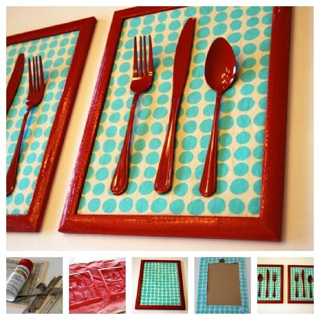 10 funky wall art accent colors silverware art and cutlery for Funky wall art