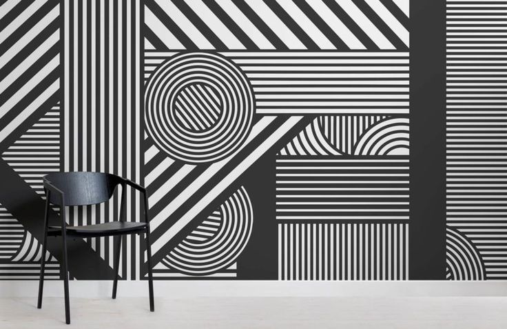Geometric Black & White Wallpaper | Striped Design | MuralsWallpaper