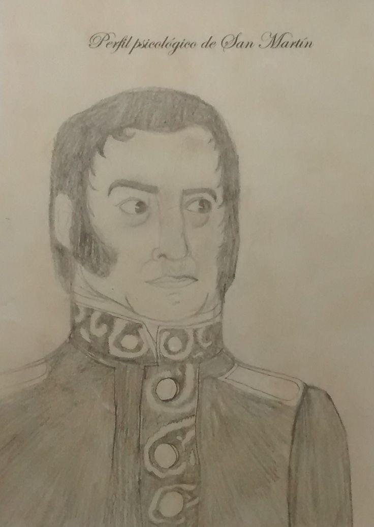 Retrato del Gral. San Martín. Elaborada por la alumna Sofía Pujol. 4° año B. Prof. Eleonora Urso