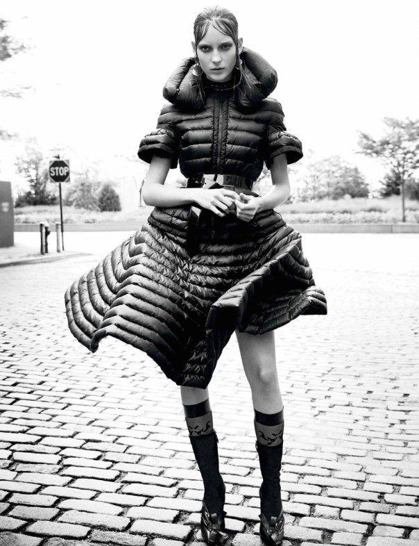 """New Down"", Interview Magazine November 2014, Photographer : Patrick Demarchelier, Fashion Editor : Karl Templer, Hair : Tomo Jidai, Make-up : Diane Kendal, Models : Ine Neefs, Julia Bergshoeff, Rianne van Rompaey, Maartje Verhoef"
