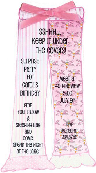 Adult Slumber Party - Slumber Party Ideas - Slumber Party Invitation