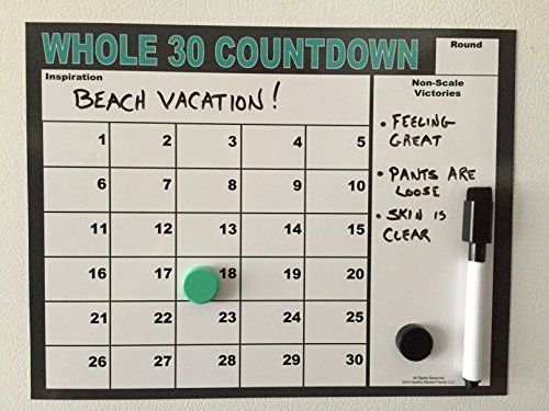 Whole 30 Countdown, Magnetic Dry-Erase Calendar with Button Magnets and Magnetic Dry Erase Pen, Whole Thirty Program Tracking