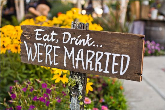 handpainted wood Eat, Drink...We're Married sign