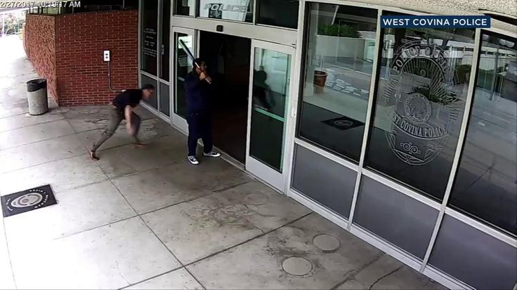 VIDEO: Bat-wielding suspect tackled by officer arrested at West Covina Police Department