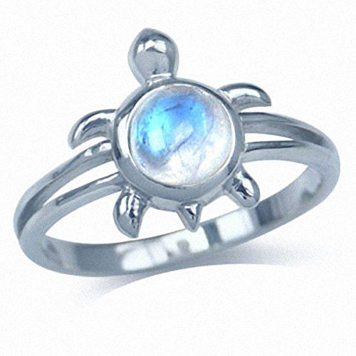 Natural Moonstone 925 Sterling Silver Turtle Solitaire Ring: