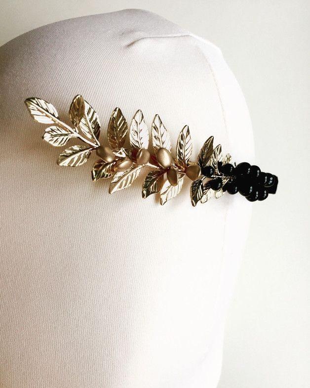 złota opaska odwrócona włosów - ślub wesele - handmadebykicia - Opaski do włosów