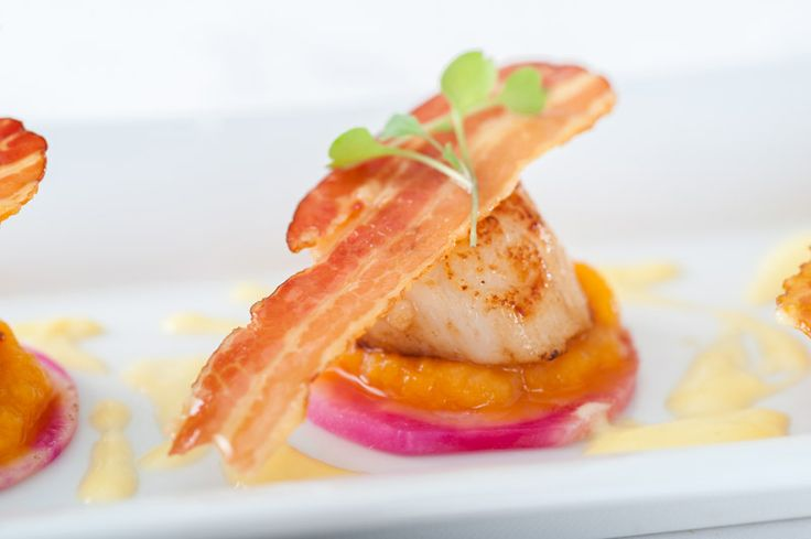 Pan seared Dartmouth scallops, beetroot carpaccio, butternut, pancetta crisp and vermouth