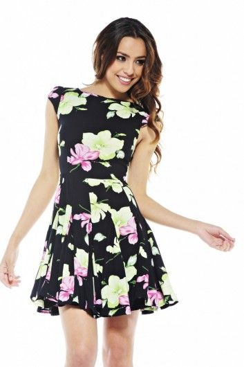 Parisian pink and black cut out aztec skater dress