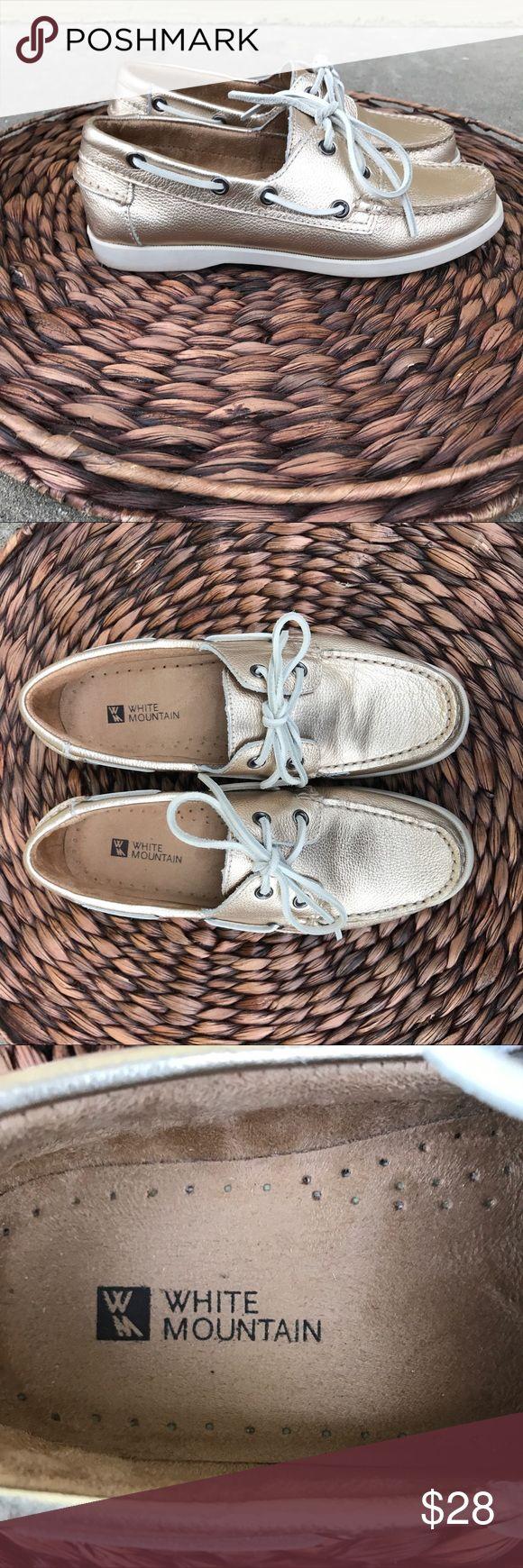 White Mountain Gold Boat Shoes White Mountain boat shoes, great condition, used 2 times. White Mountain Shoes
