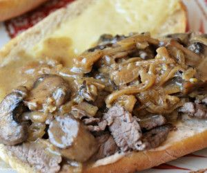 sandwich with caramelized onions and grainy mustard horseradish mayo ...