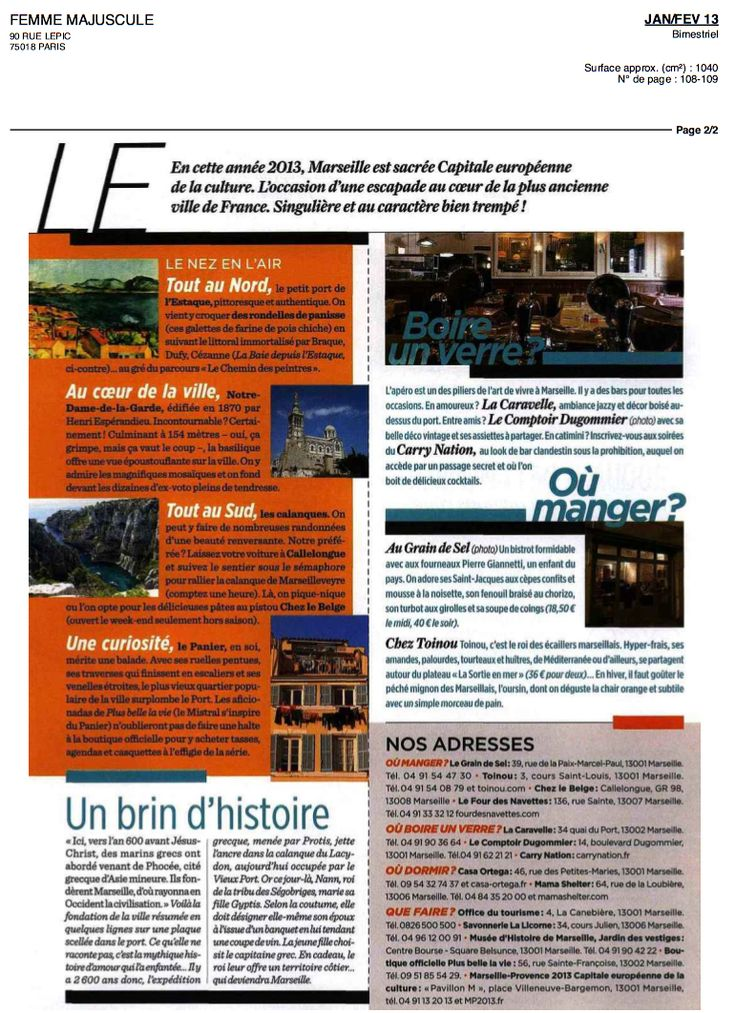 FEMME MAJUSCULE février 2013 Bar Restaurant La Caravelle Marseille www.lacaravelle-marseille.com