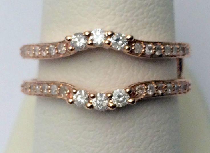 Past Present Future Three Stone Diamond Ring Guard Solitaire Enhancer Rose Gold #WithDiamonds
