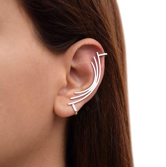 Silver Ear Cuff Earring Non Pierced Ear Cuff Sterling