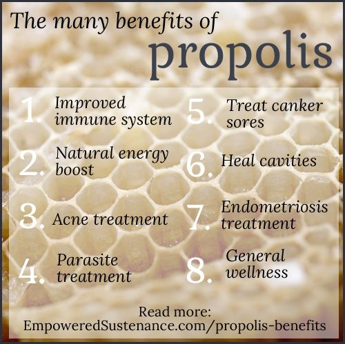 benefits of propolis (energy boost, endometriosis, cavity treatment, and reduce the enzyme that causes plaque to build on teeth)