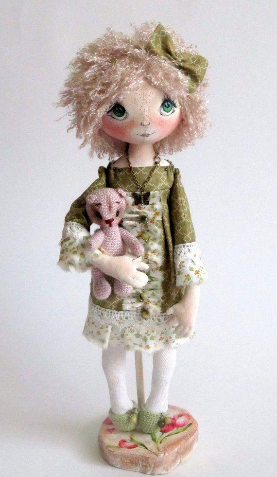 Textile Cloth Art doll Lia fairy green bow by ArtDollsByKseniya